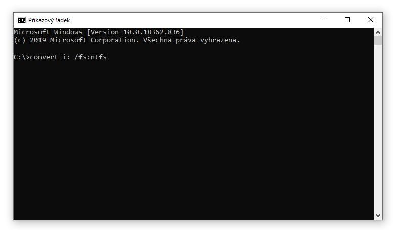 Převod disku FAT32 na NTFS